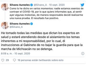 Silvano Aureoles, gobernador de Michoacán, da positivo a COVID-19; presenta algunos síntomas