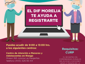 Gobierno de Morelia apoya a adultos mayores en registro para vacuna Covid-19