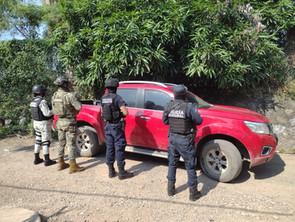 SSP, Semar, GN y Policía Municipal aseguran camioneta con reporte de robo