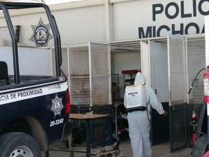 Continúan labores contra el COVID-19 en oficinas y cuarteles de la Policía Michoacán: SSP
