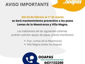 Mañana se hará mantenimiento correctivo en pozos de Lomas de la Maestranza y Villa Magna