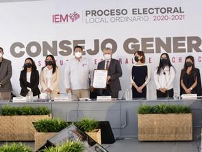 Entregó IEM constancia de mayoría del proceso electoral para Gobernador al C. Alfredo Ramírez B.
