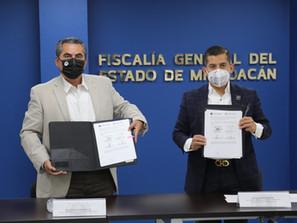 Firma FGE convenio de colaboración con CESCIJUC y CONALEP Michoacán