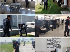 Elementos de SSP realizan limpieza en cuarteles de Jiquilpan y Apatzingán