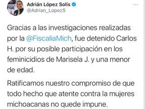 Detiene Fiscalía General a presunto responsable de doble feminicidio ocurrido en Paracho