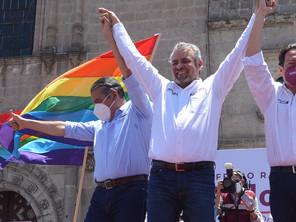Con el mínimo de sana distancia; Bedolla inicia campaña como candidato a gobernador de Morena-PT