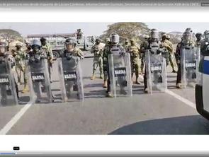 Marina Armada de México y GN,  bloquea el avance de la CNTE en el Puerto de Lázaro Cárdenas.