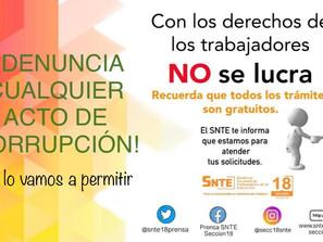 El SNTE promueve la transparencia y condena la corrupción en trámites para agremiados