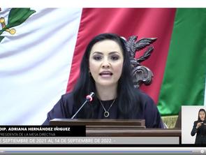 Adriana Hernández, presidenta de la Mesa Directiva del Congreso local