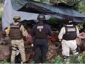 SSP, Sedena y GN desmantelan campamento usado por célula delictiva