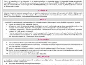 INVITA INE E IEM A APARTICIPAR COMO OBSERVADORA U OBSERVADOR ELECTORAL PAR LAS ELECCIONES DE 2021