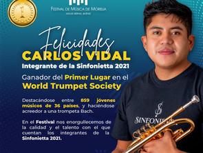 Carlos Vidal, integrante de la Sinfonietta del FMM, gana el primer lugar en el World Trumpet Society