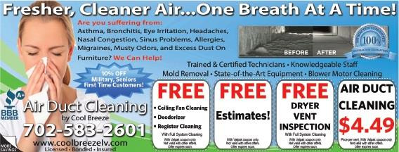 Air Duct Cleaning Las Vegas 4 99 Per Vent A Bbb Rating