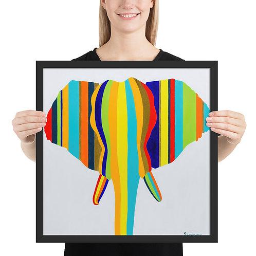 'Elephant in Stripes' - Framed