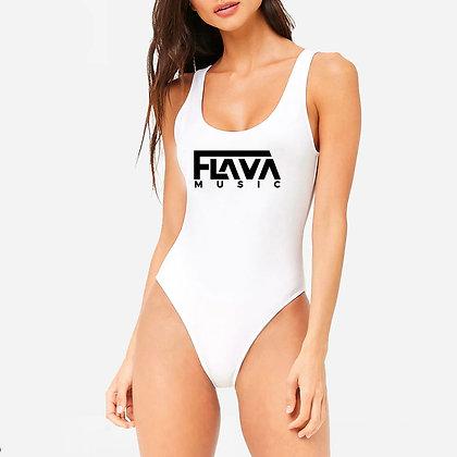 FlavaMusic Statement Logo White Swimsuit