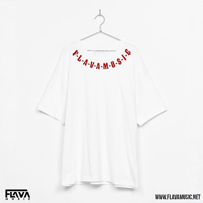 FlavaMusic White Box Fit Shirt With Print On Neck