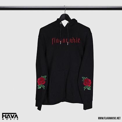 FlavaMusic Oversized Black Rose Hoodie