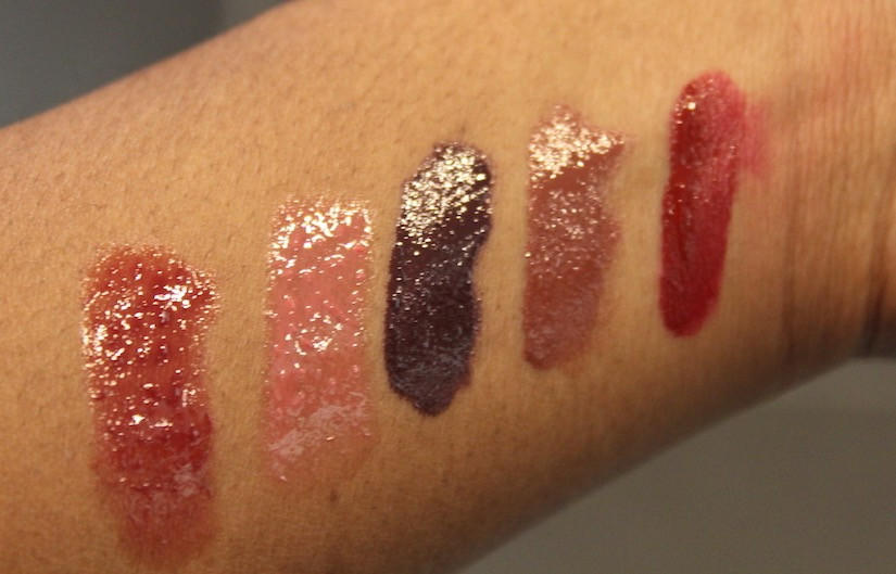 From left to right: Buxom 'Grace', Buxom 'Maddy', ABH 'Potion', NYX 'Ginger Snap', Colourpop 'Dropout'