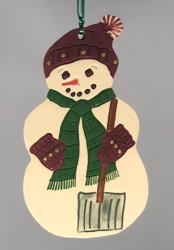 Snowlady with Shovel Ornament