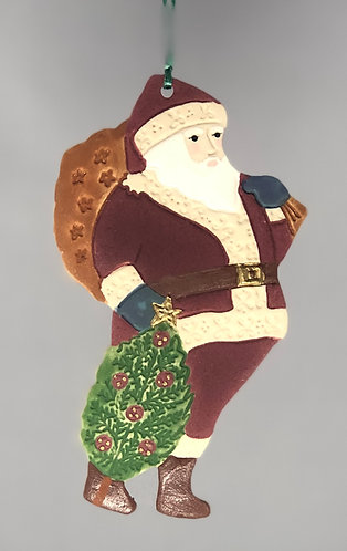 Santa with Tree Ornament