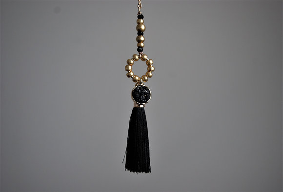 Silk in the Night Druzy Quartz Lariat Necklace