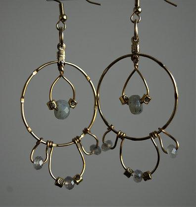 Ornamental Labradorite Hoop Earrings