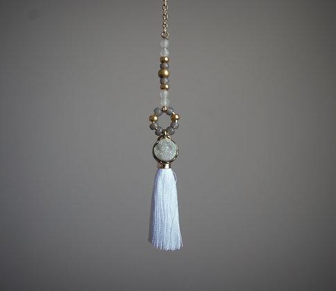 Mist Over the Fields Druzy Tassle Lariat Necklace