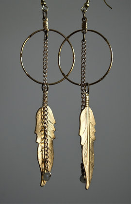Drops from a Feather Labradorite and Brass Hoop Earring
