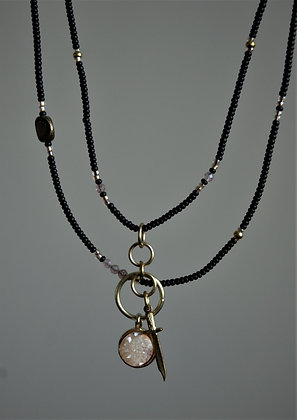 Lover and a Fighter Rose Quartz Layered Beaded Necklace