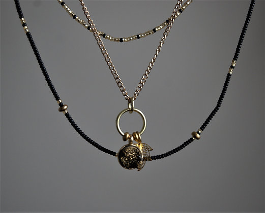 Shard of the Sun Pyrite Druzy Layered Necklace
