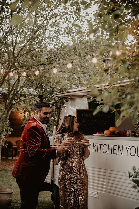 food truck wedding, evening food