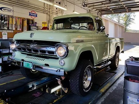 Vintage Truck in VT receiving an Oil Change