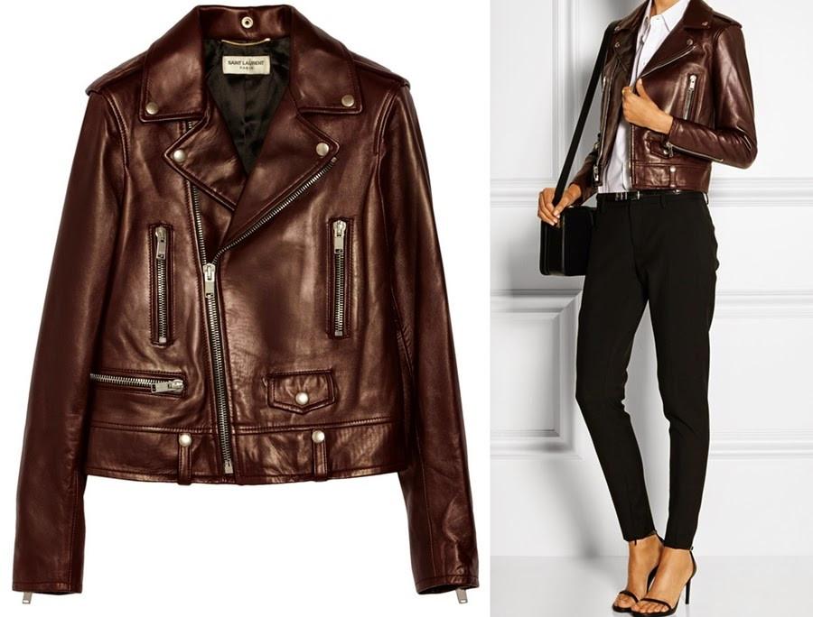 saint laurent women leather biker jacket burgundy leather online shop 2015 fashi