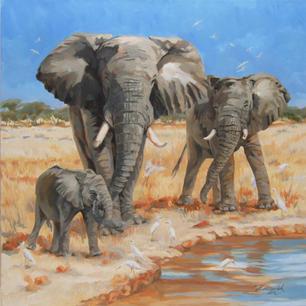 'Elephants and Egrets'