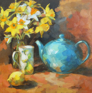 Blue Teapot and Daffodils