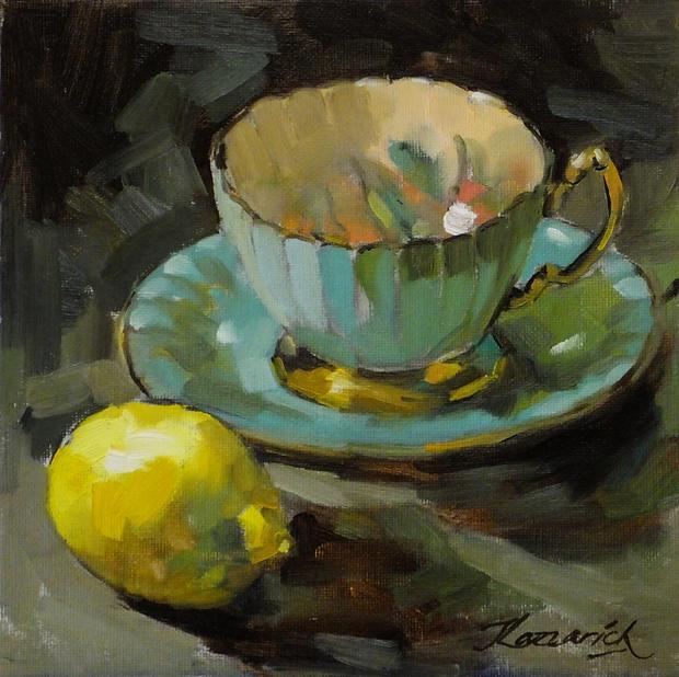 Green Aynsley Teacup