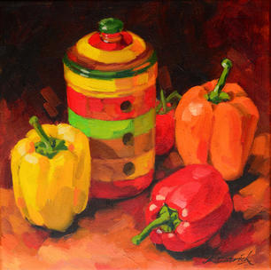 Garlic Jar and Peppers