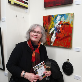 At the 'Tecnically Brilliant' exhibition with my painting titled 'Conflict'