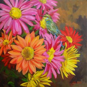 Chrysanthemums & Bee Eater