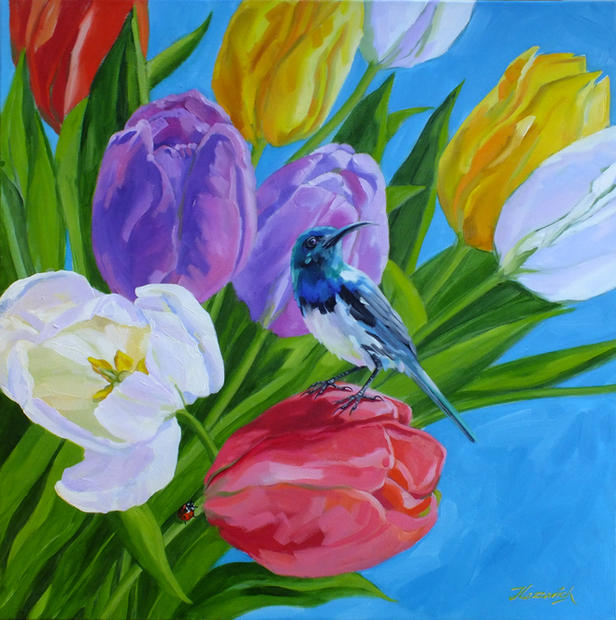 Rainbow Tulips and Bee-Eater