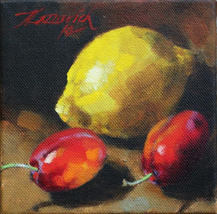 Lemon and Victoria Plums