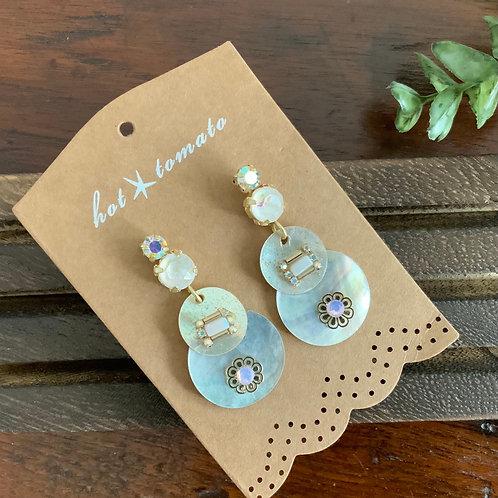 Mother Of Pearl Encrusted Circles Earrings
