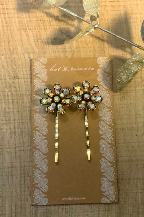 Diamonte  Flower Hair Slides