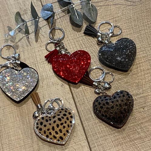 Sparkly Heart Key Ring