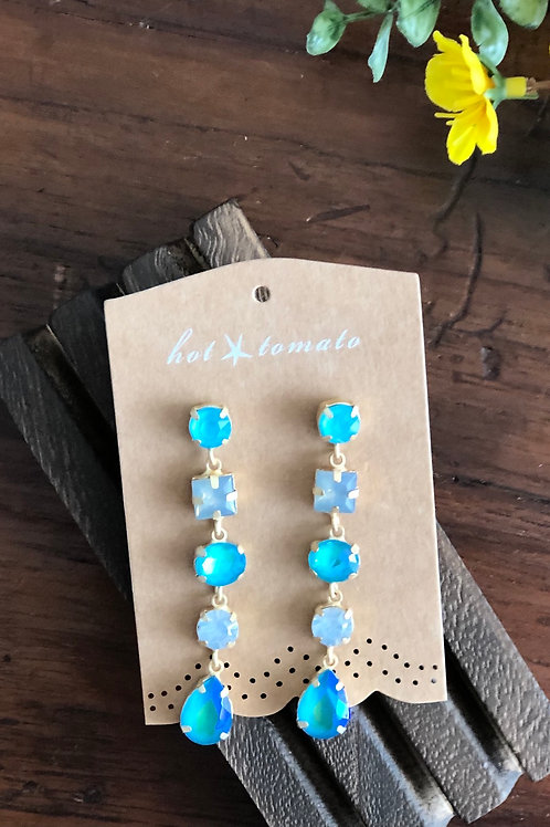 Vintage Style Turquoise and Gold 5 Drop Earrings