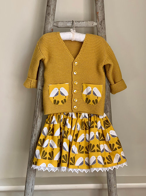 Mustard Bird Print Skirt & Cardigan Set