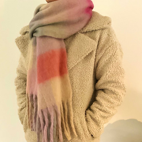 Shades of Grey and Pink Chunky Scarf