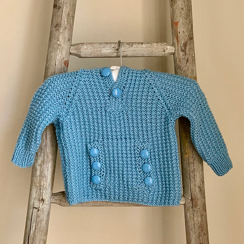 Hand-knitted Blue Hooded Baby Jumper