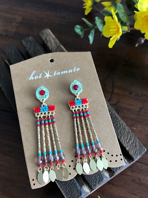 Indie Drop Earrings in Coral and Turquoise