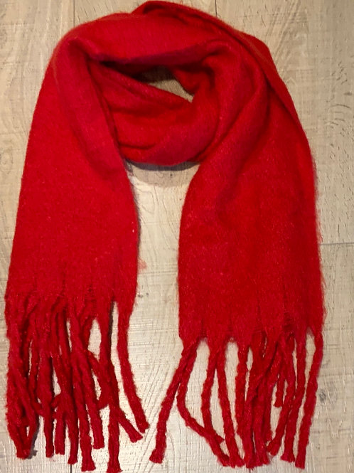 Bright Red Tasselled Scarf